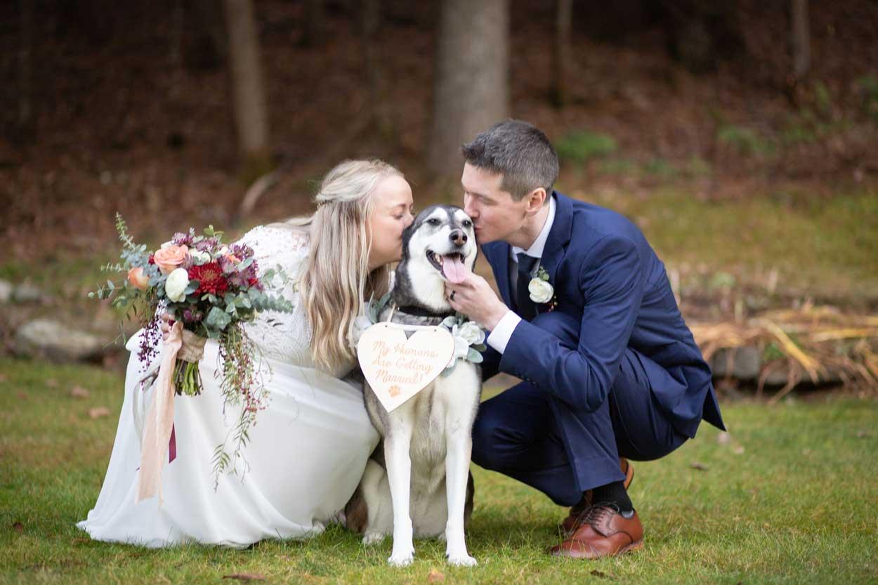 wedding couple kissing their dog